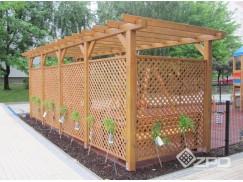 Konstrukcje drewniane o wymiarach i kształtach według pomysłu klienta. Większość z nich została zaprojektowana i zbudowana aby wykorzystać istniejące miejsce w ogrodzie czy przy domu.